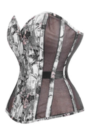 Mesh with Brocade Custom Made Steel Boned Corset (ELC-701)