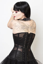 Steel Boned Custom Made Gothic Black Mesh Corset (ELC-701)