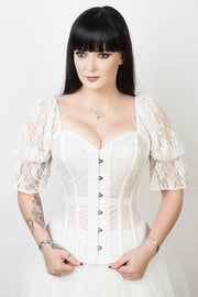 White Mesh with Lace Overlay Custom Made Bridal Corset (ELC-701)