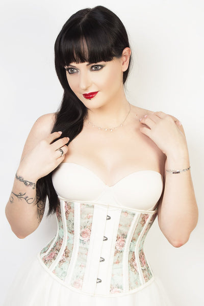 Victorian Custom Made Floral Print Mesh Corset