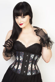 Underbust Custom Made Plaid Print Mesh Corset