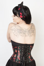 Underbust Custom Made Cherry Print Mesh Corset
