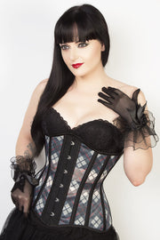 Plaid Print Mesh Custom Made Waist Reducing Longline Corset