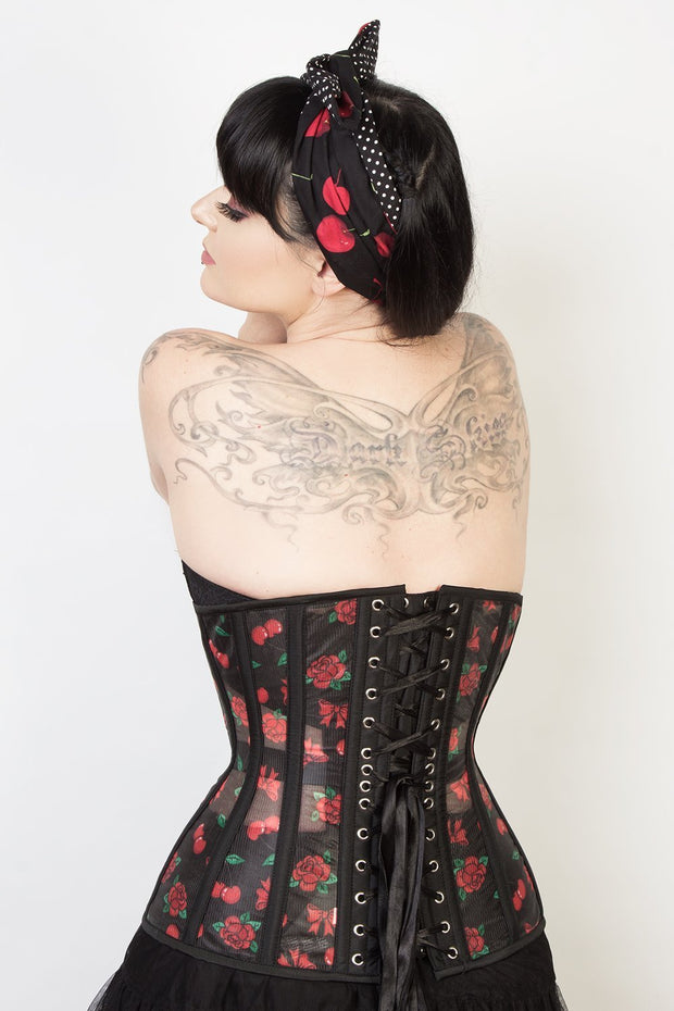 Longline Custom Made Cherry Print Mesh Corset