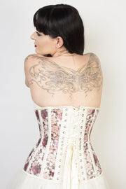 Waist Reducing Custom Made Floral Print Mesh Longline Corset