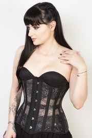 Printed Black Mesh Custom Made Longline Corset