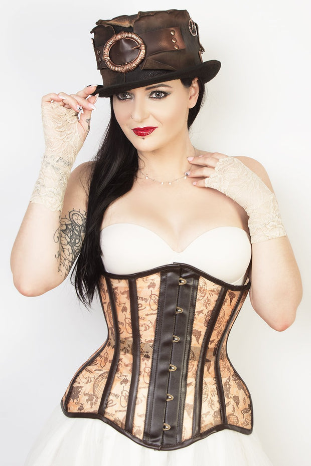 Waist Reducing Custom Made Steampunk Print Mesh Corset (ELC-102)