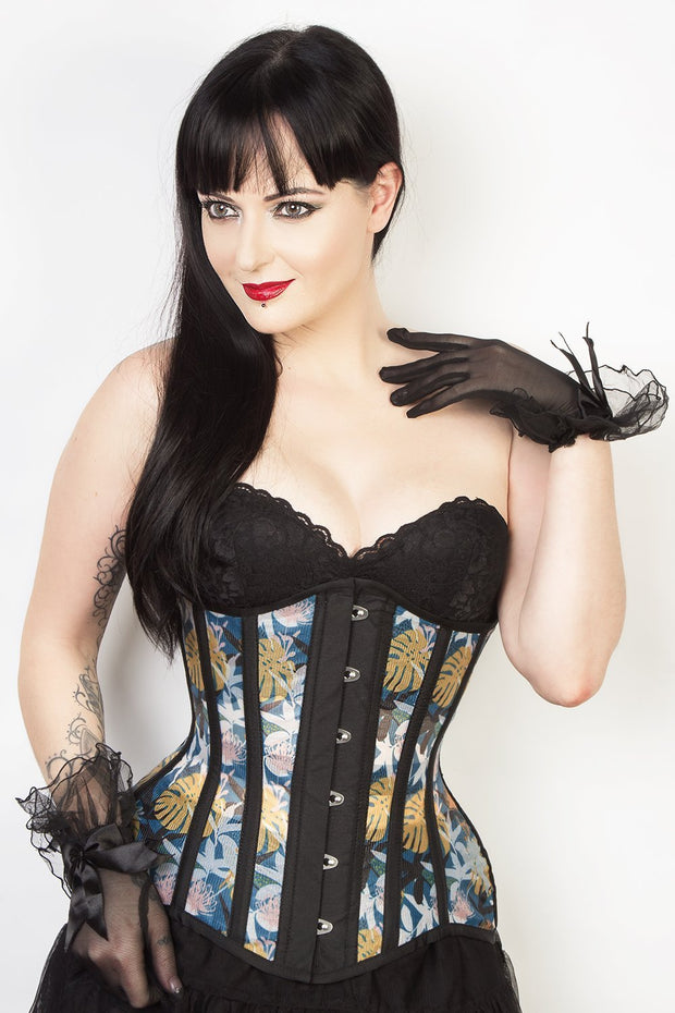 Steel Boned Custom Made Printed Mesh Underbust Corset (ELC-102)