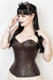 Overbust Custom Made Waist Reducing Leather Corset (ELC-301)