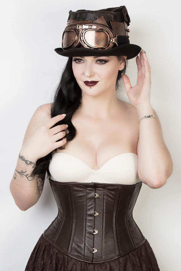 Waspie Custom Made Brown Leather Corset