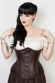 Brown Leather Waist Training Corset (ELC-102)