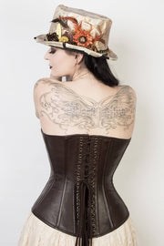 Brown Leather Custom Made Waist Reducing Corset (ELC-401)