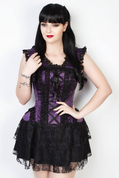Steel Boned Printed Burlesque Corset Dress