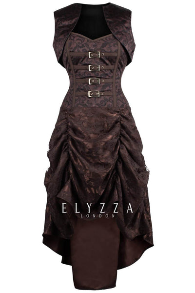 Steampunk Custom Made Printed Corset Dress with Shrug
