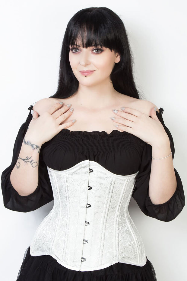 Waist Trainer Custom Made White Brocade Corset (ELC-102)