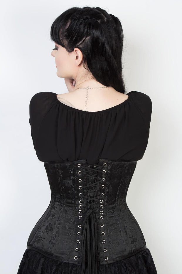 Black Floral Waist Training Corset (ELC-102)
