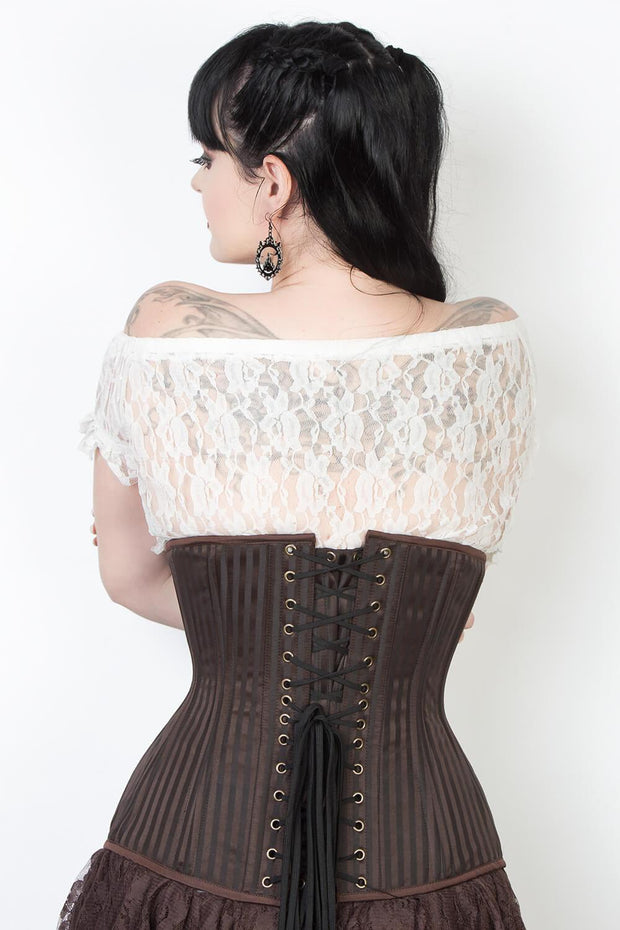Brown Brocade Waist Training Corset (ELC-102)