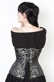 Silver Brocade Custom Made Waist Training Corset (ELC-102)