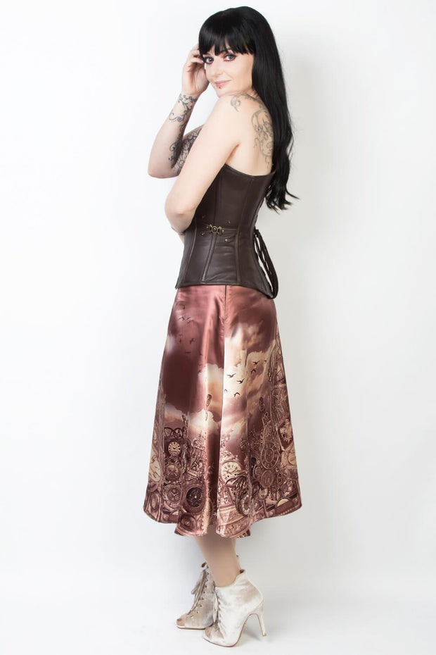 Printed Custom Made Steampunk Skirt with Detachable Belt
