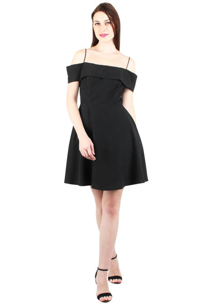 Cold Shoulder Crepe Flare Dress