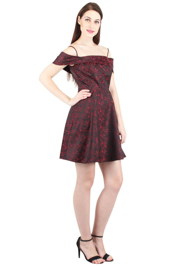 Cold Shoulder Brocade Mini Dress