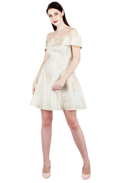 Ivory Brocade Cold Shoulder Mini Dress