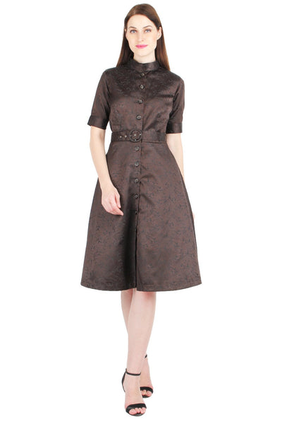 Brown Brocade Belted Shirt Dress