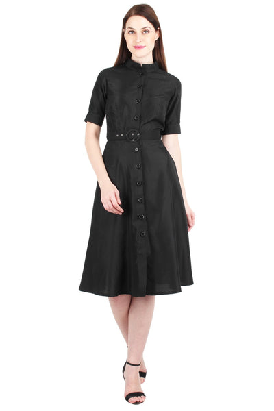 Black Crepe Belted Shirt Dress
