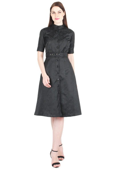 Belted Brocade Shirt Dress