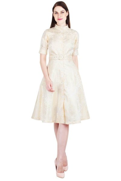 Belted Ivory Brocade Shirt Dress