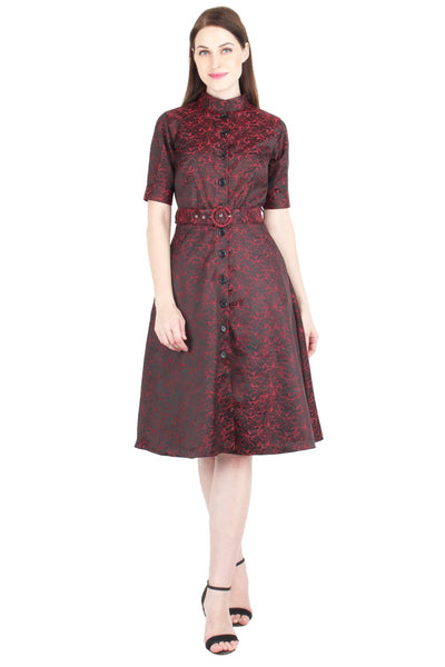 Brocade Belted Shirt Dress