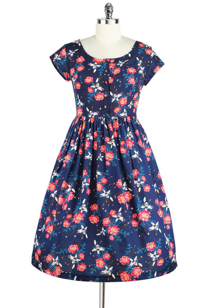Elyzza London 1950s Blue & Carnation Floral Print Flare Dress