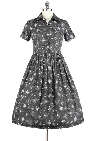 Elyzza London 1950s Style Printed Collared Flare Dress