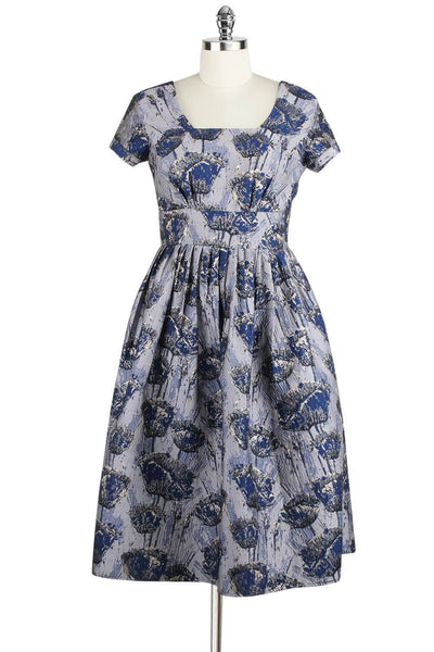 Elyzza London 1950s Style Jacquard Knee Length Flare Dress