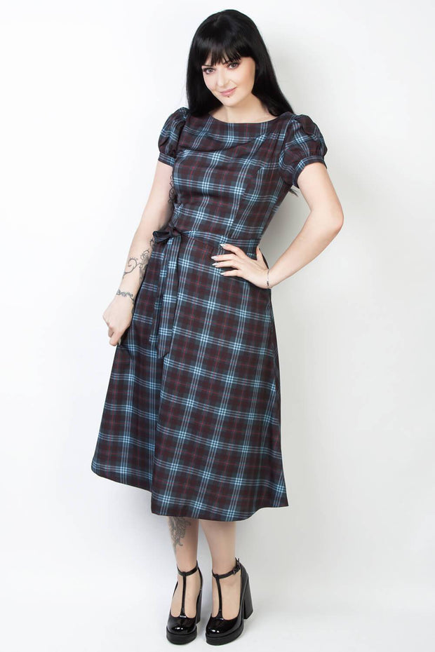 Elyzza London Plaid Print Boat Neck Flare Dress