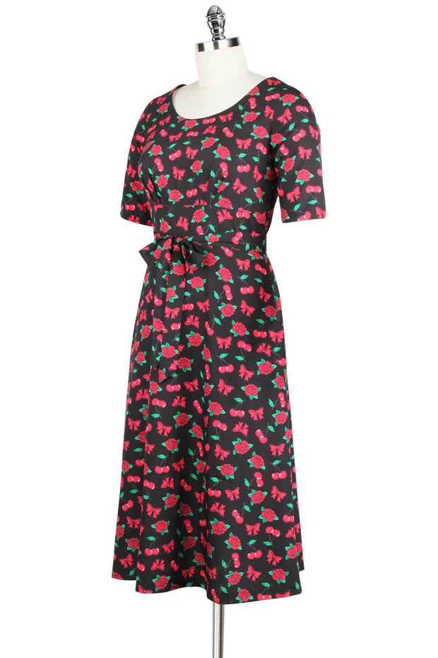 Elyzza London 1950s Style Flare Dress in Cherry Print