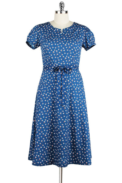 Elyzza London Blue & White Floral Print Flare Dress