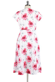 Elyzza London Rose Print Fit & Flare Dress