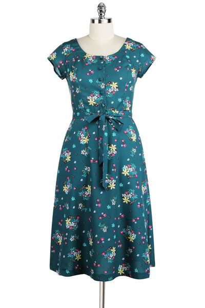Elyzza London Printed Flare Dress with Matching Belt