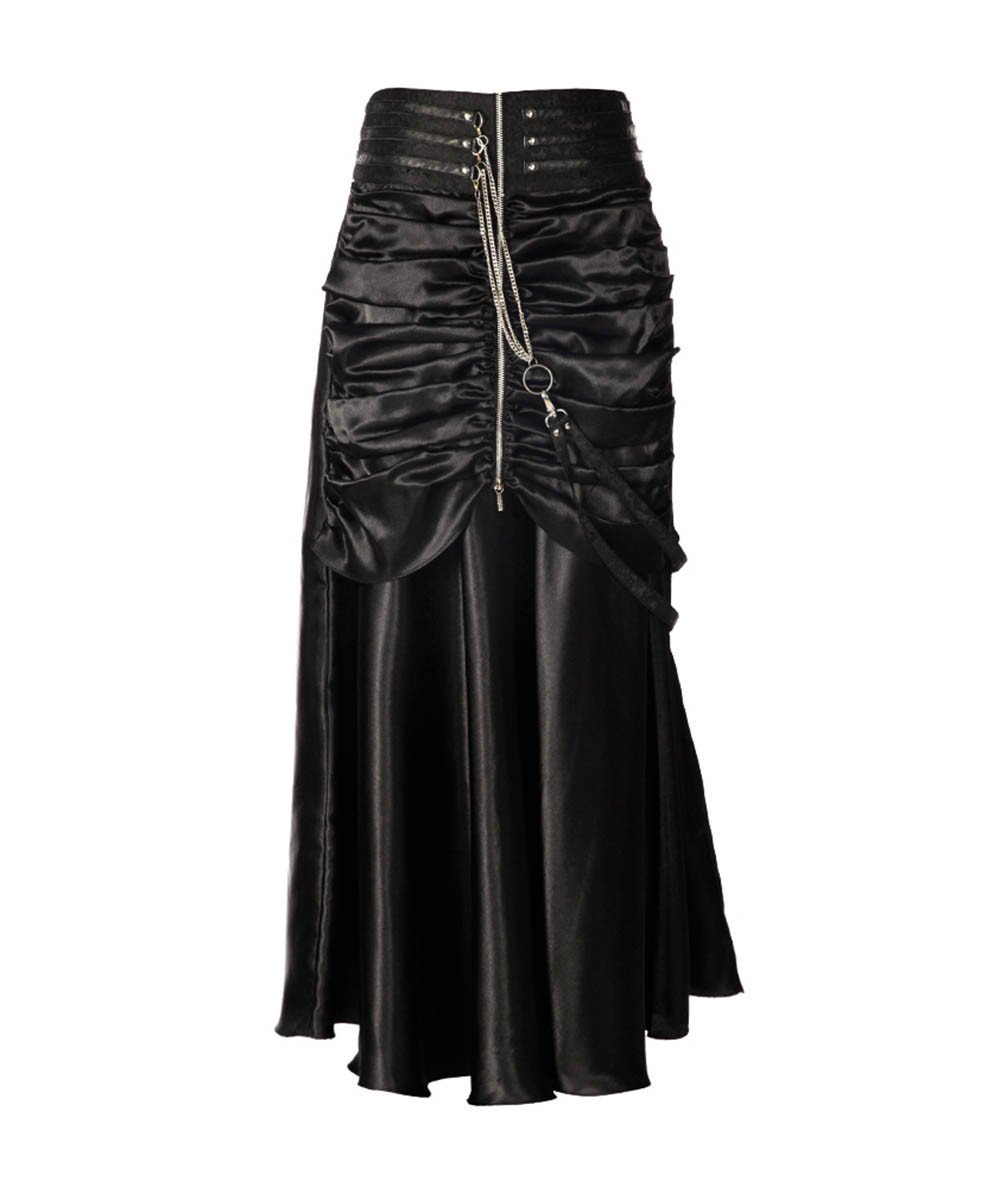Jessie Steampunk Black Ruched Bustle Skirt