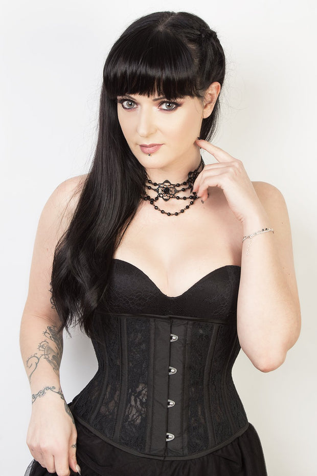 Wade Underbust Black Mesh with Lace Waspie Corset