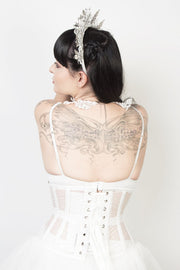 Underbust Custom Made Waspie White Mesh Corset