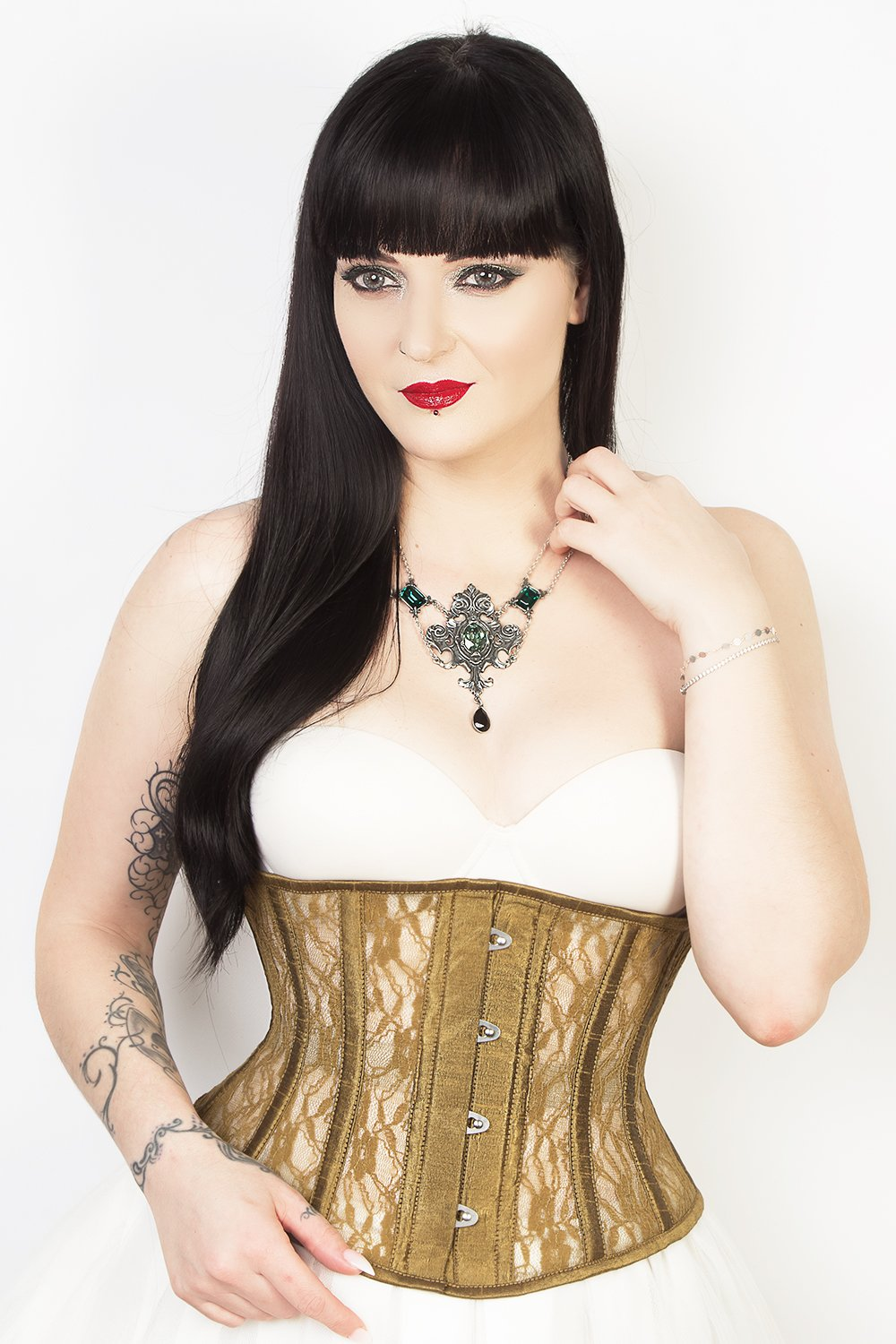 e57a348635 Underbust Plus Size Waspie Gold Mesh with Lace Corset Trainer- CS ...