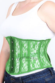 Underbust Plus Size Green Mesh with Lace Waspie Corset