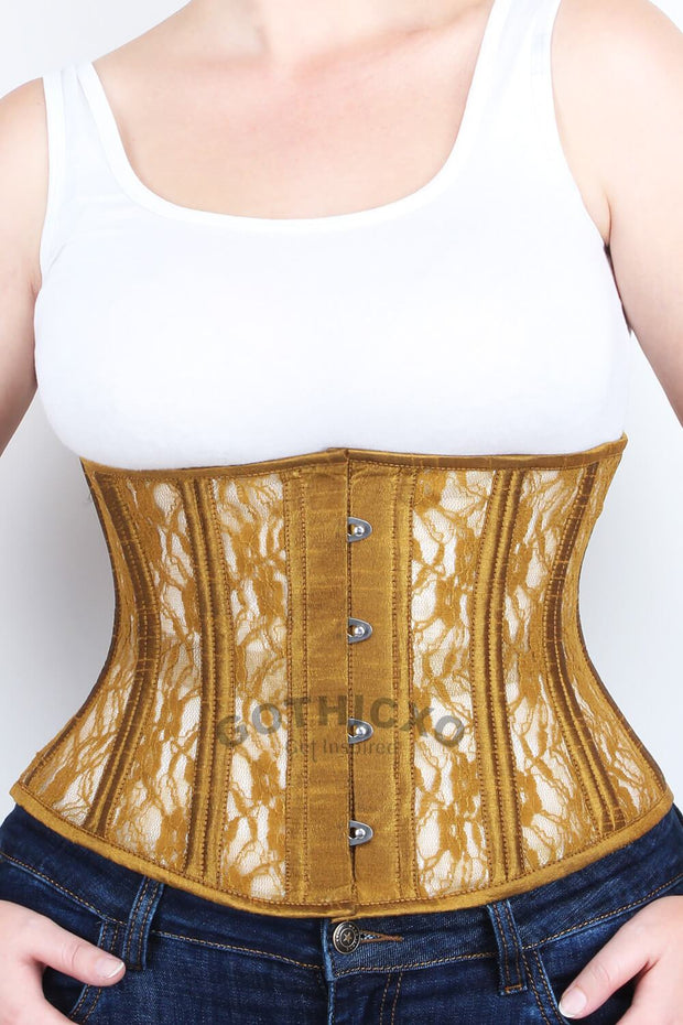 Underbust Gold Mesh with Lace Standard Corset