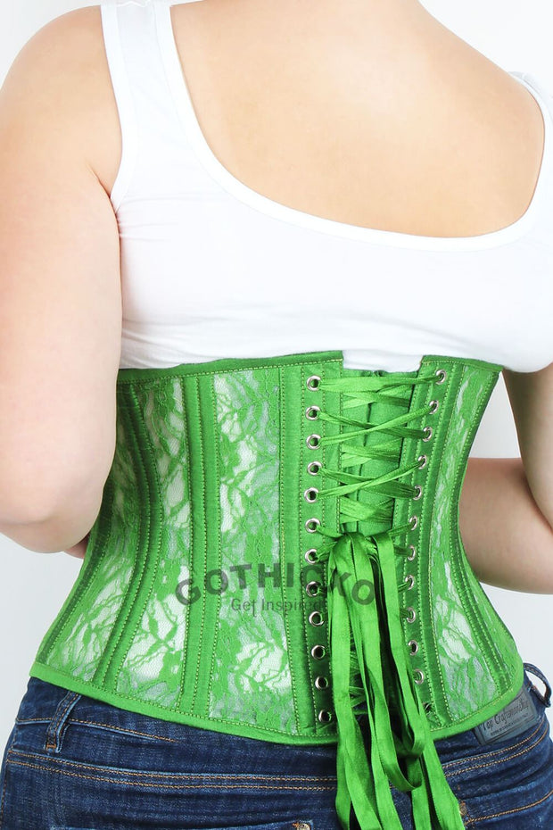 Underbust Green Mesh with Lace Standard Corset