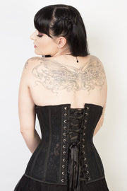 Underbust Plus Size Black Mesh with Lace Long Corset