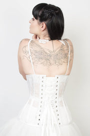 Underbust Custom Made White Mesh with Lace Long Corset