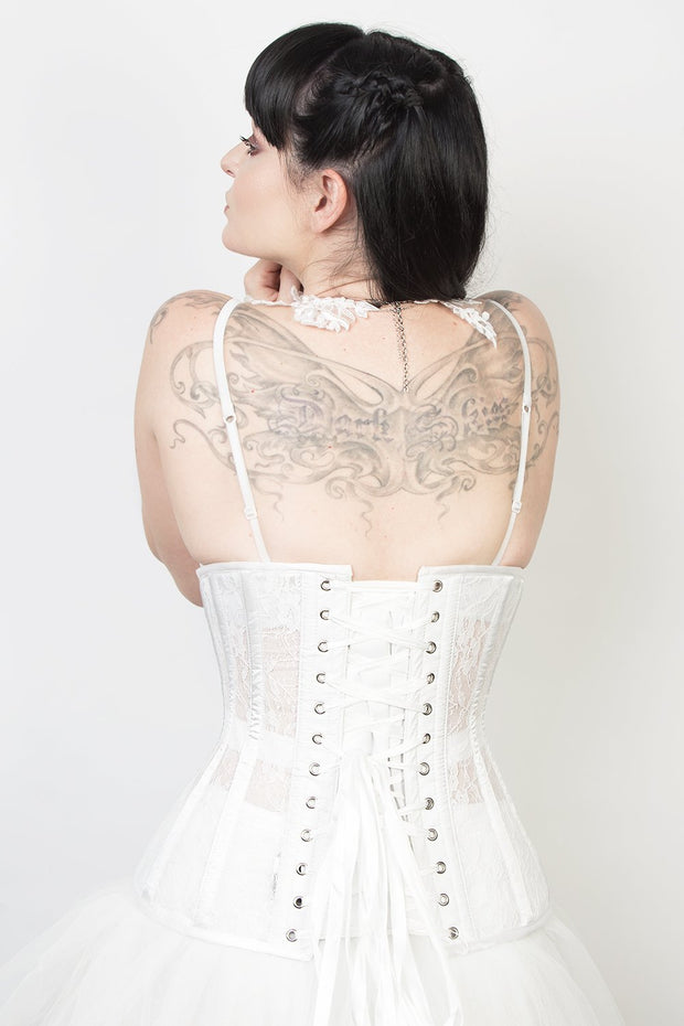 Underbust White Mesh with Lace Long Corset