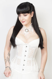 Underbust Plus Size White Mesh with Lace Long Corset